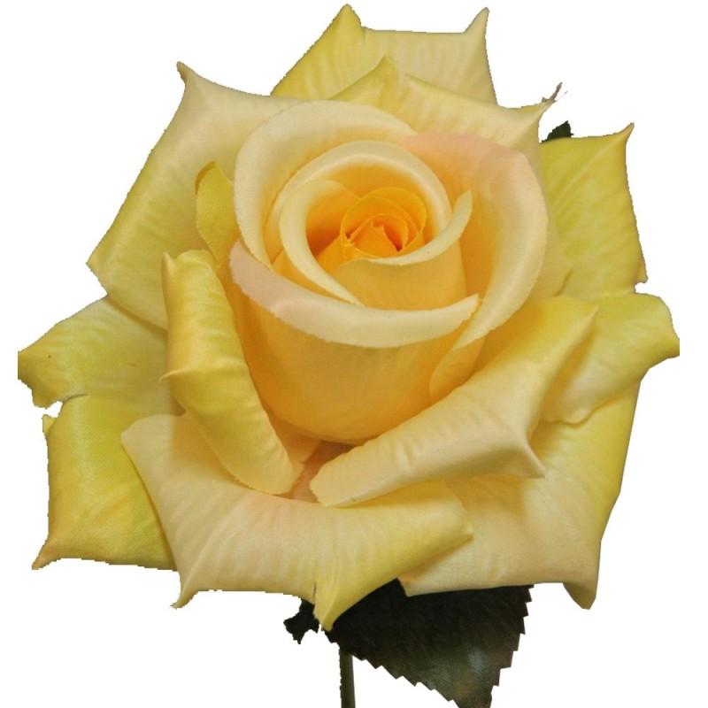 Rose artificielle couleur jaune botte de 6 tiges