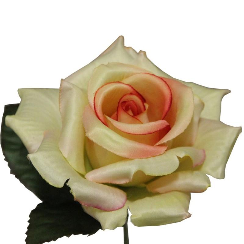 Rose artificielle couleur saumon botte de 6 tiges