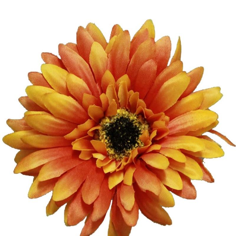 Fleur artificielle gerbera couleur orange botte de 6 tiges