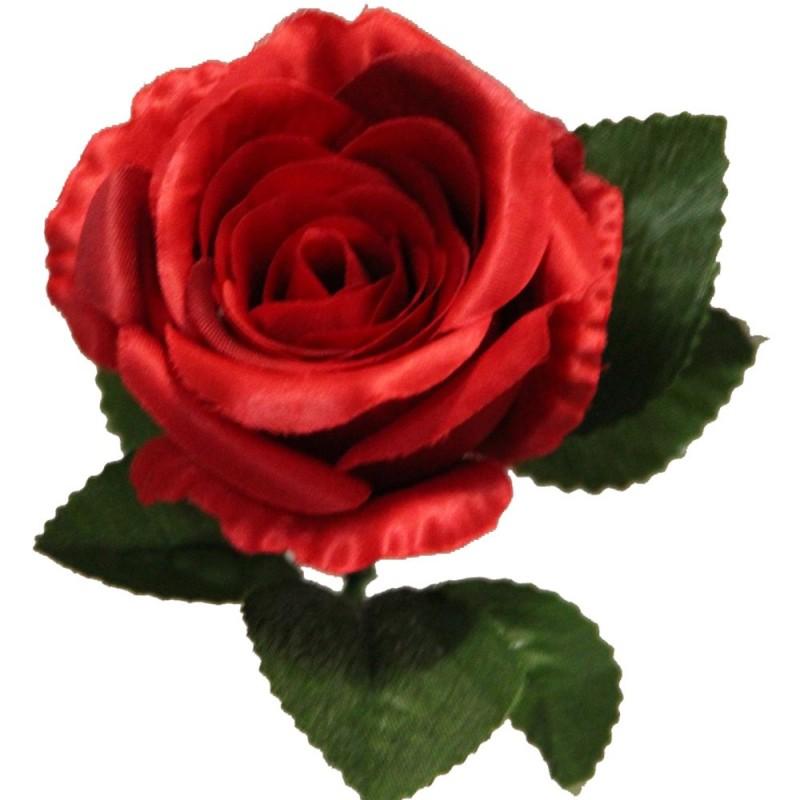 Rose artificielle couleur rouge botte de 6 tiges