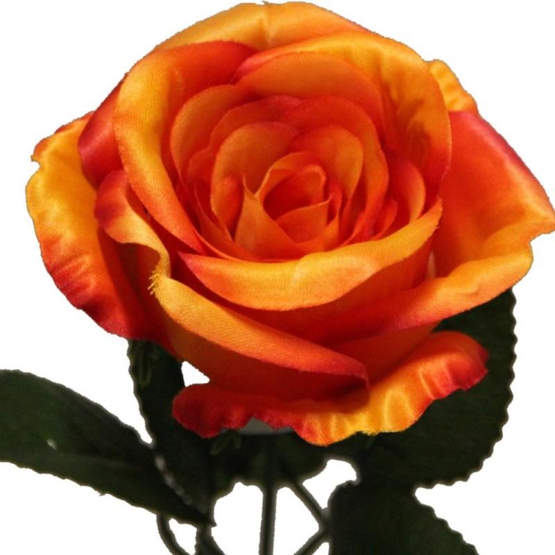Rose artificielle couleur orange botte de 6 tiges