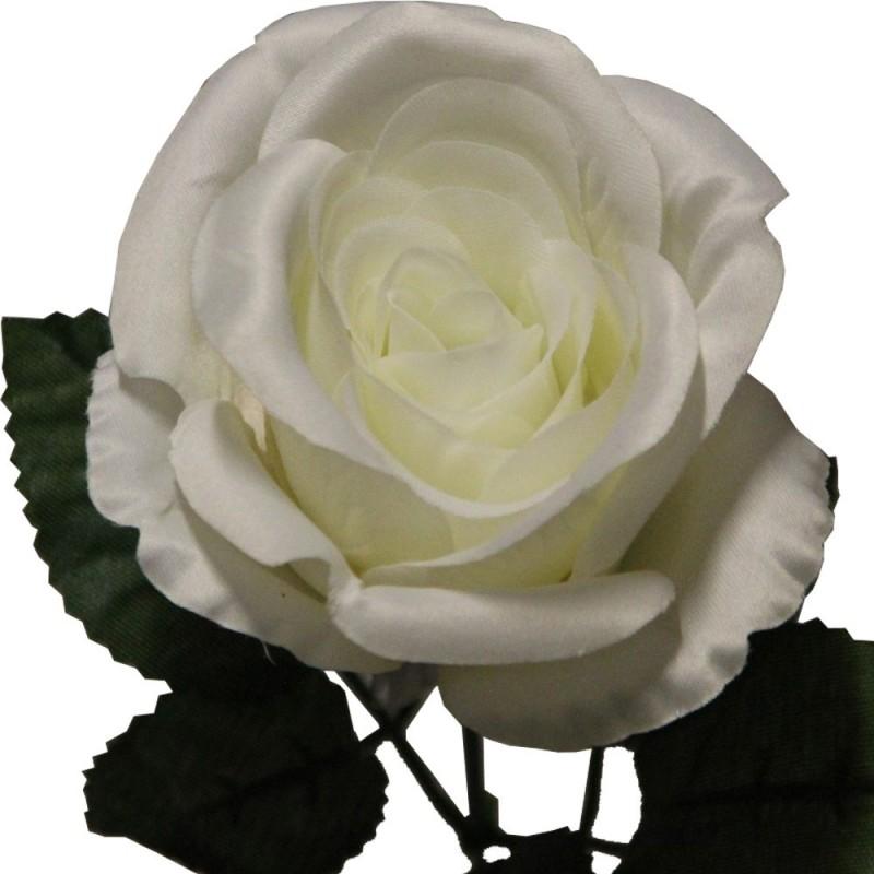Rose artificielle couleur crème botte de 6 tiges