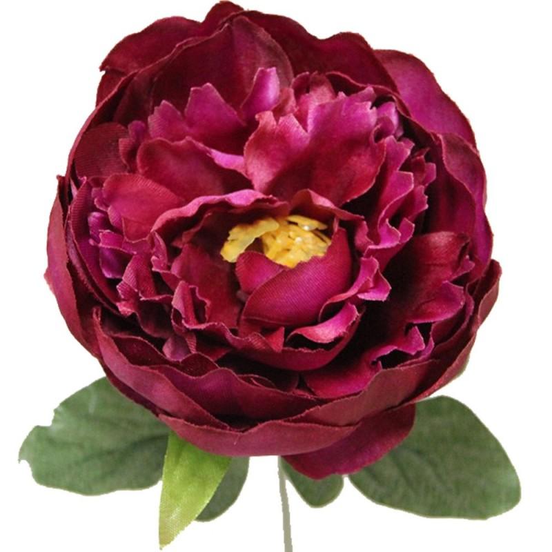 Fleur de montage artificielle pivoine couleur fuchsia botte de 6 tiges