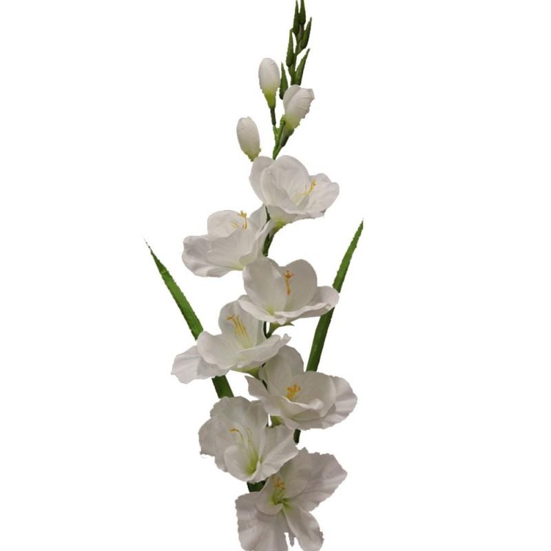Fleur de montage artificielle glaïeul Blanc H79cm