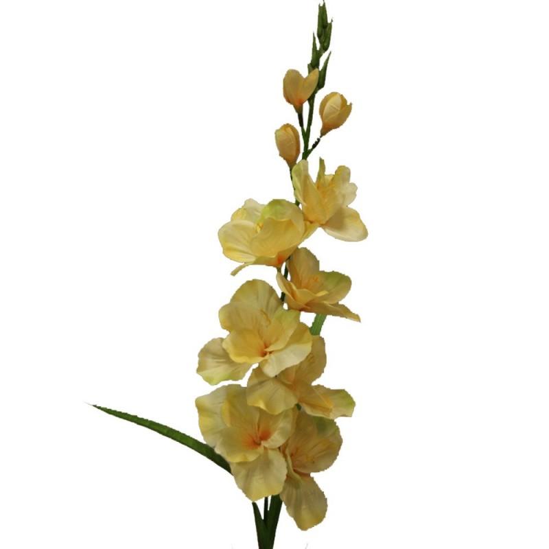Fleur de montage artificielle glaïeul couleur jaune H79cm