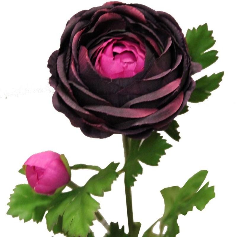 Fleur artificielle renoncule couleur lilas H73cm