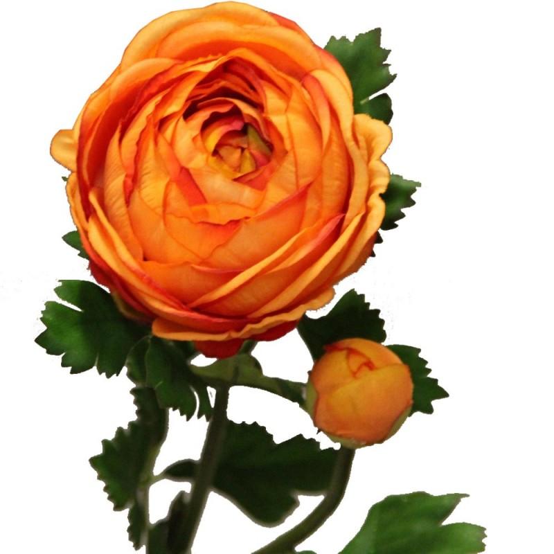 Fleur artificielle renoncule couleur orange H73cm