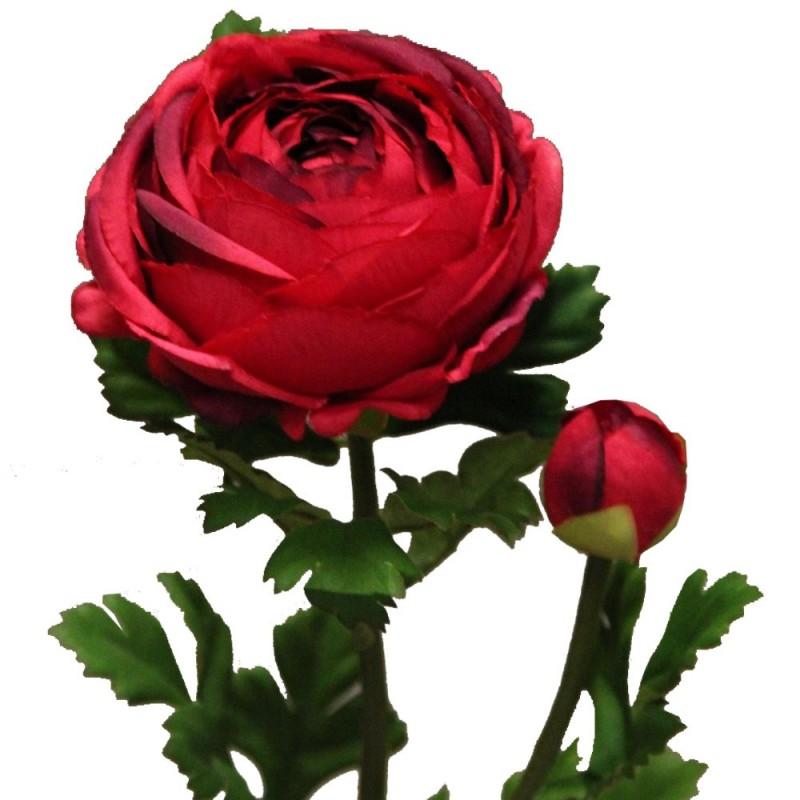 Fleur artificielle renoncule couleur rouge H73cm