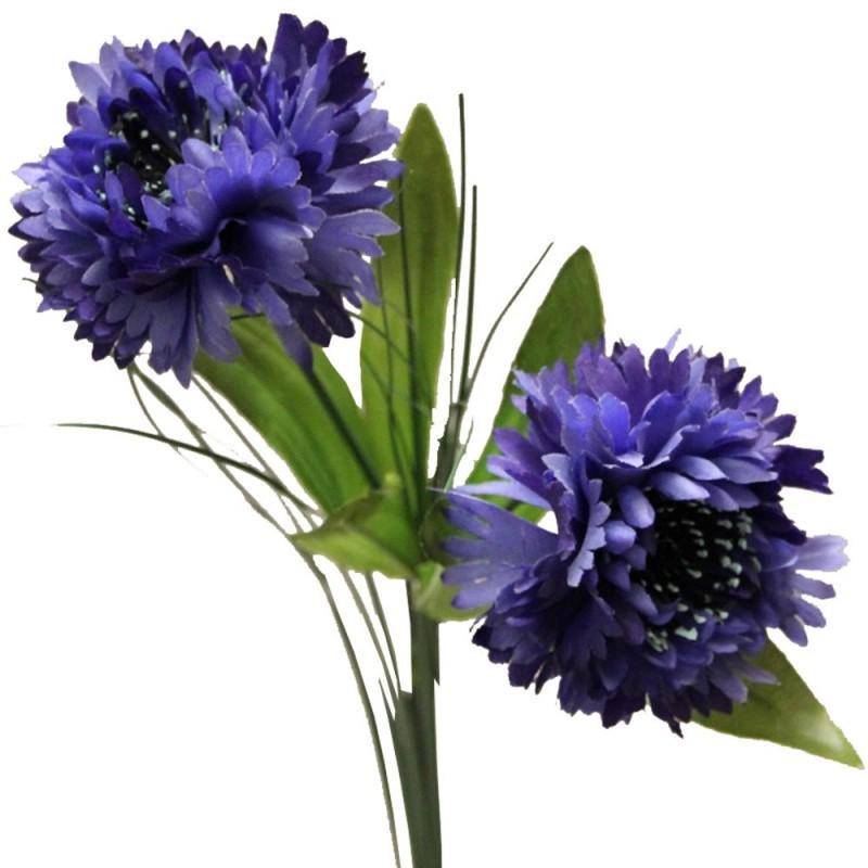 Fleur artificielle bleuet couleur bleu H65cm