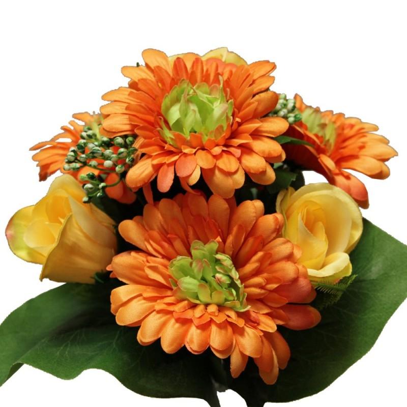 Piquet fleurs avec roses et gerberas artificiel Orange H35cm