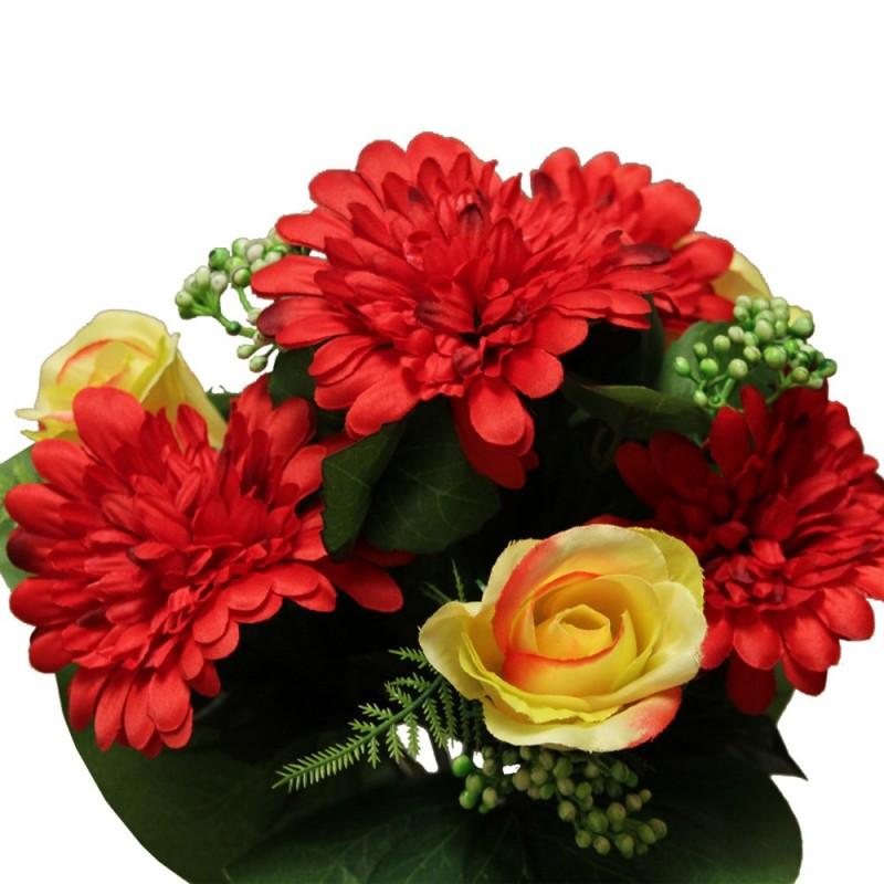 Piquet fleurs artificielles avec roses et gerberas couleur rouge H35cm