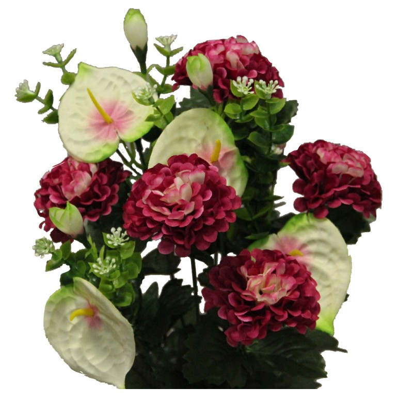 Piquet fleurs artificielles avec anthuriums et dahlias couleur fuchsia H45cm