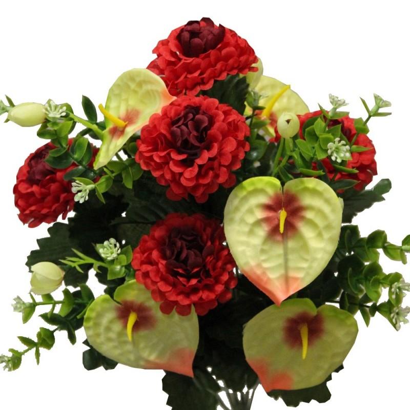 Piquet fleurs artificielles avec anthuriums et dahlias couleur rouge H45cm