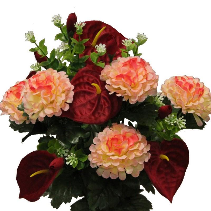 Piquet fleurs artificielles avec anthuriums et dahlias couleur saumon H45cm