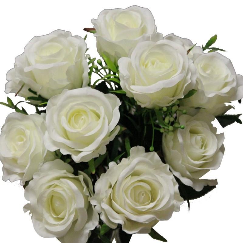 Piquet rose artificielle avec gypsophile couleur crème H37cm
