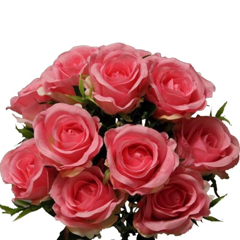 Piquet rose avec gypsophile artificiel Rose H37cm