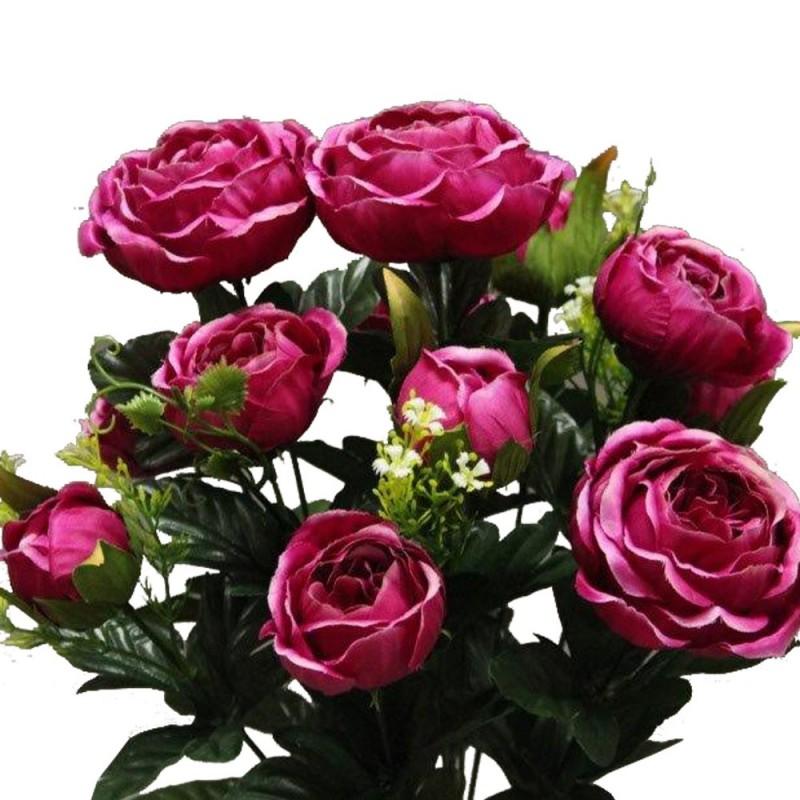Piquet fleur artificielle rose cabbage couleur fuchsia H51cm