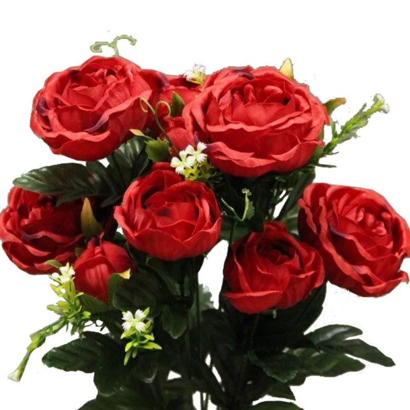 Piquet fleur rose cabbage artificiel Rouge H51cm