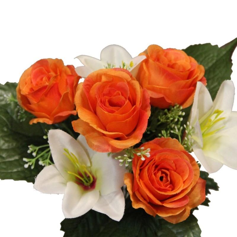 Piquet fleur artificielle rose et Lys couleur orange H30cm