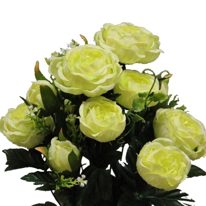 Piquet Rose cabbage artificiel Vert H51cm