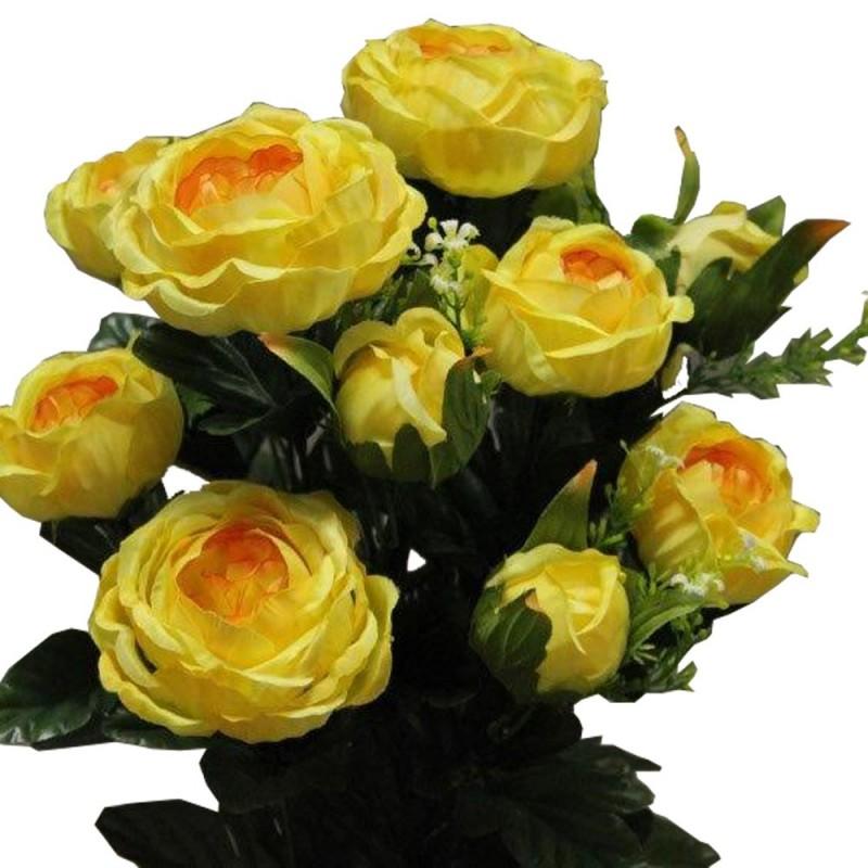 Piquet fleur rose cabbage artificiel Jaune H51cm
