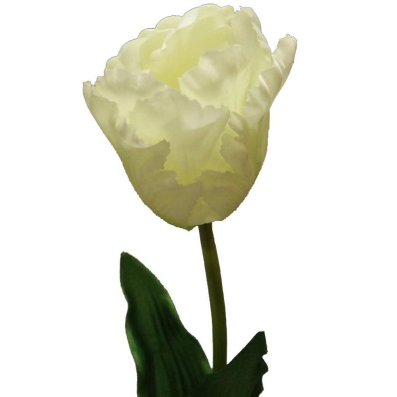 Fleur tulipe perroquet artificielle couleur crème botte de 6 tiges