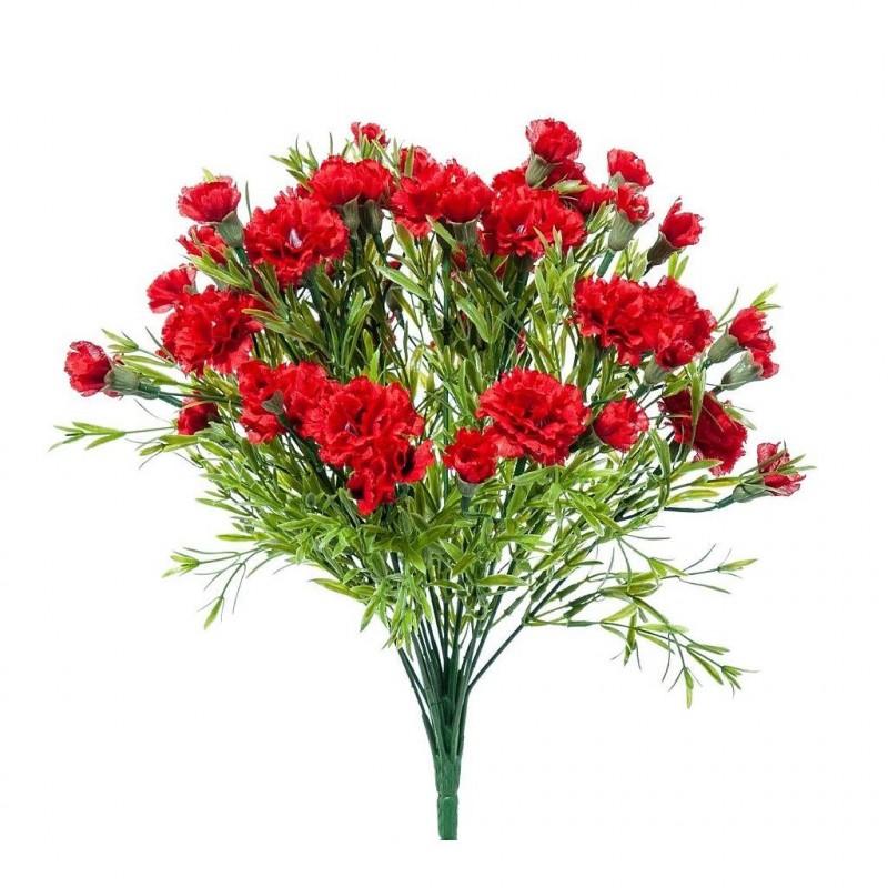Piquet fleur artificielle oeillet couleur rouge