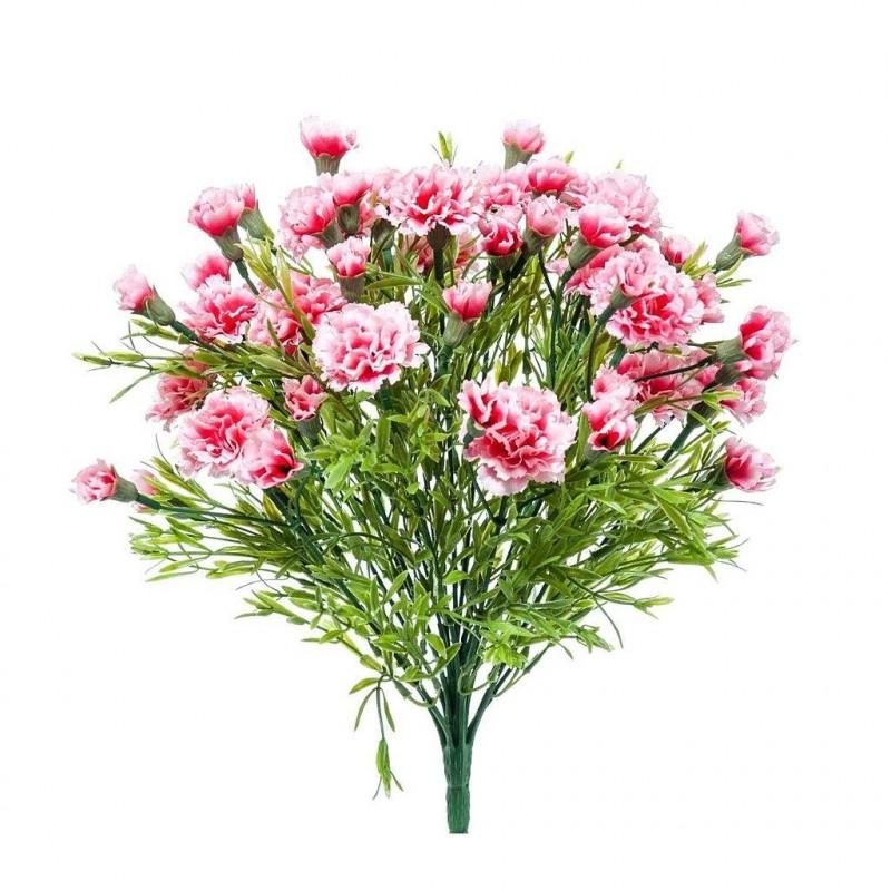 Piquet fleur artificielle oeillet couleur rose