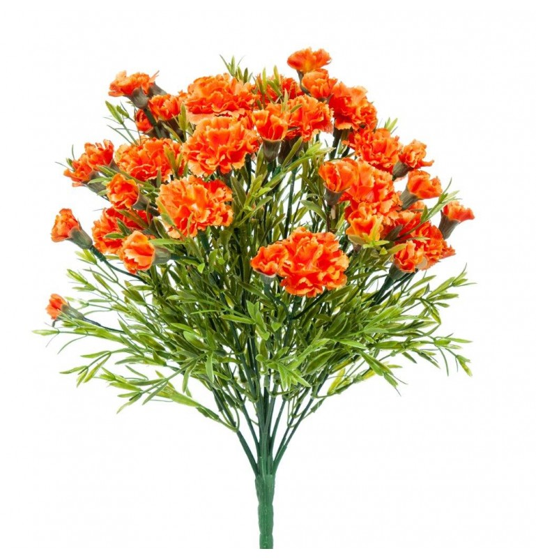 Piquet fleur artificielle oeillet couleur orange