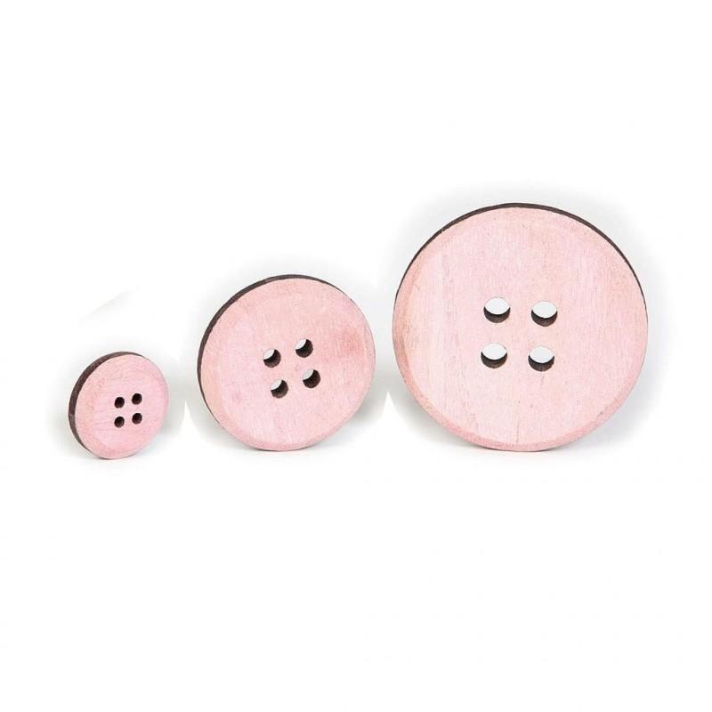BOUTON BOIS ROSE SACHET DE 30 pièces_diamètre 3, 5 et 7cm _N017 03