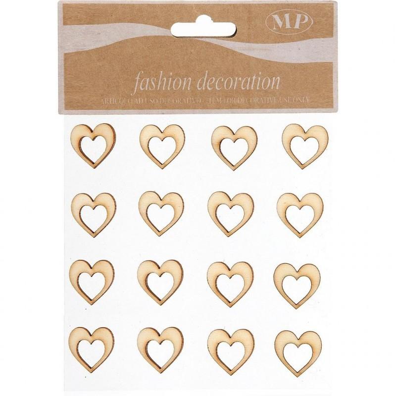 Stickers coeur bois en 20mm sachet de 16 pièces