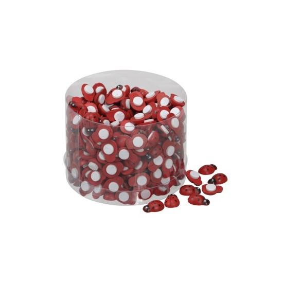 Stickers mini coccinelles de 13mm boîte de 360 pièces couleur rouge