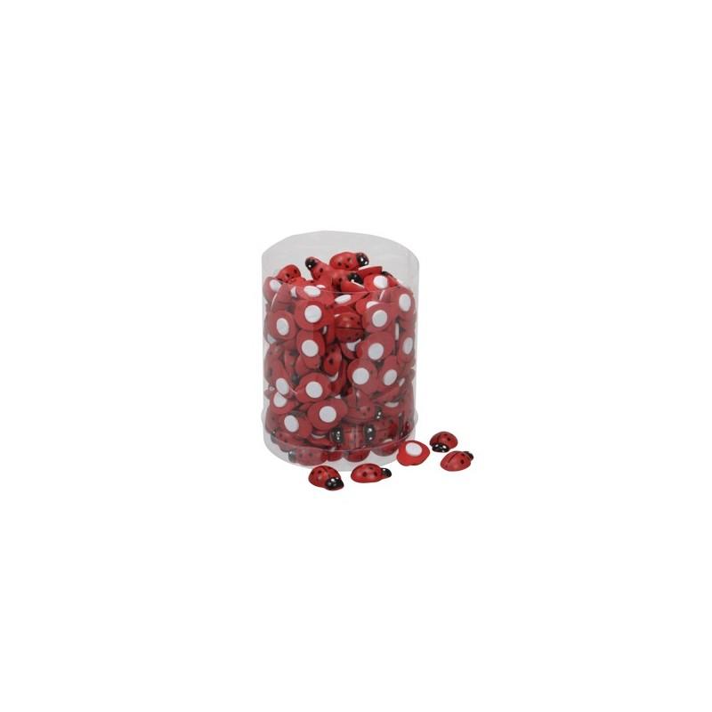 Stickers mini coccinelles de 20 mm boîte de 220 pièces couleur rouge