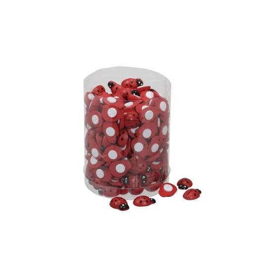 Stickers mini coccinelles de 13mm boîte de 220 pièces couleur rouge