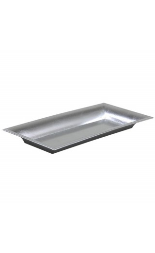 Plateau rectangle en plastique couleur argent brillant 28x12cm
