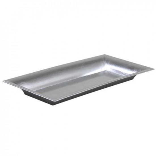 Plateau rectangle en plastique couleur argent brillant 28x12cm