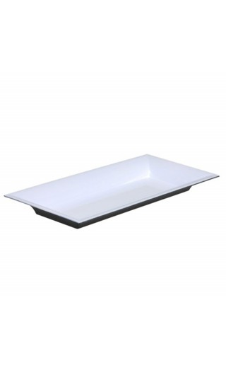 Plateau rectangle en plastique couleur blanc brillant 28x12cm