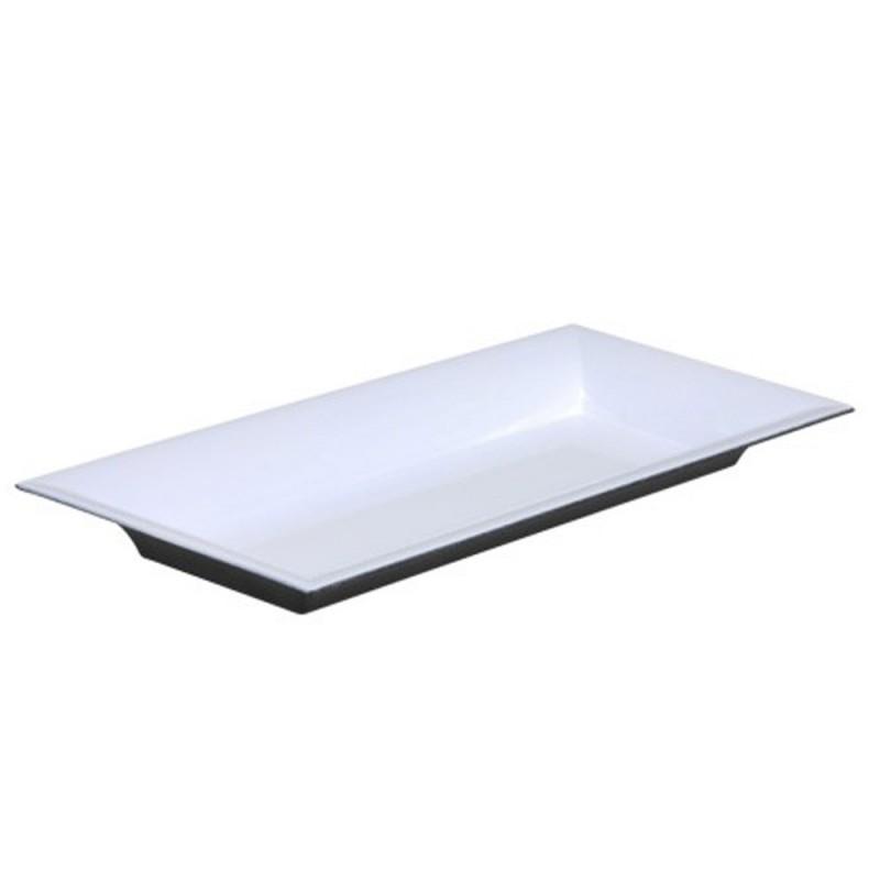 Plateau rectangle en plastique couleur blanc brillant 28x12cm