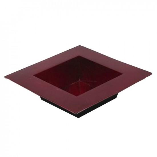 Plateau carré en plastique couleur rouge 20x20cm