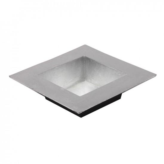 Plateau carré en plastique couleur argent 20x20cm