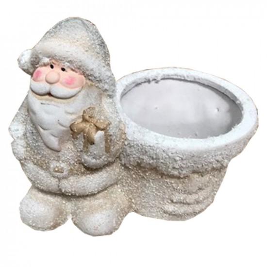 Pot en céramique avec Père Noël couleur blanc