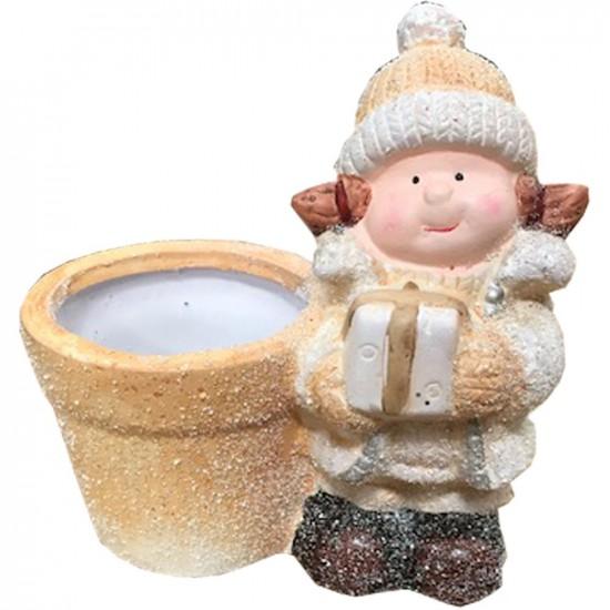 Pot en céramique petite fille couleurs blanc et or