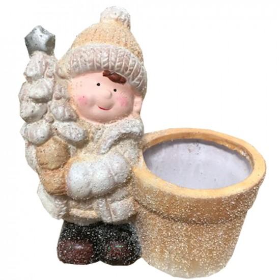 Pot en céramique petit garçon couleurs blanc et or