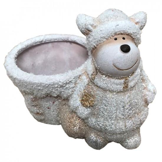 Pot en céramique avec Rennes couleur blanc