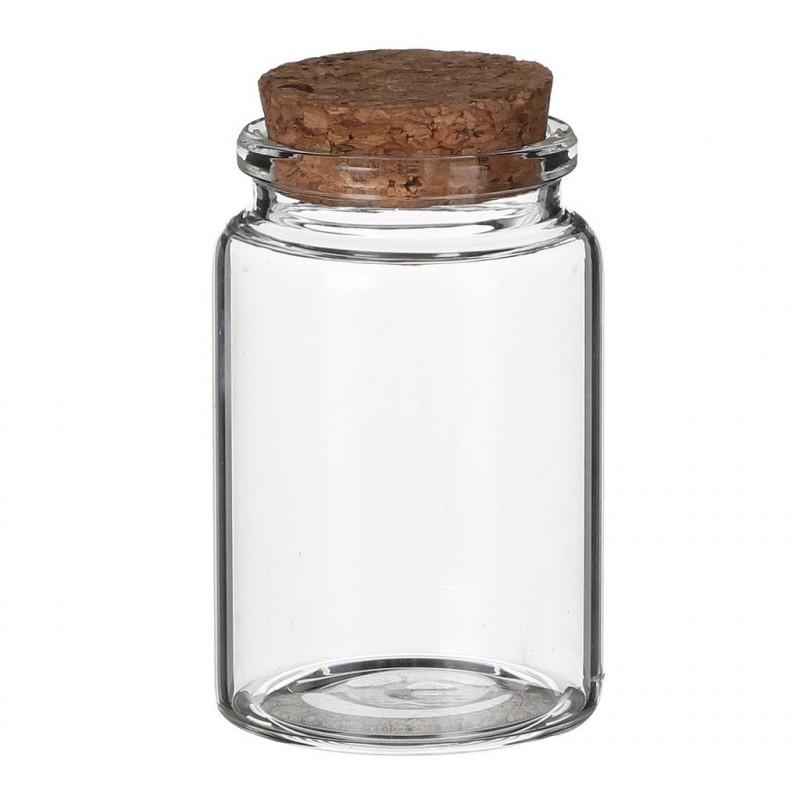 Petit pot en verre avec bouchon en liège x12pcs H7,5cm ø4,5cm Transparent