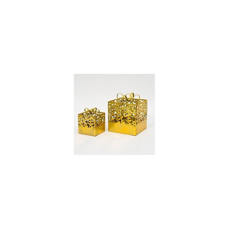 Cadeaux en métal or lot de 2 pièces 25x25xH3cm et 16x16xH20cm