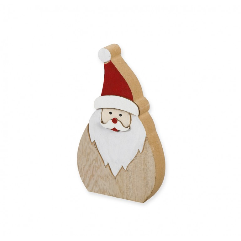 Personnage père Noël en bois à poser H19 cm