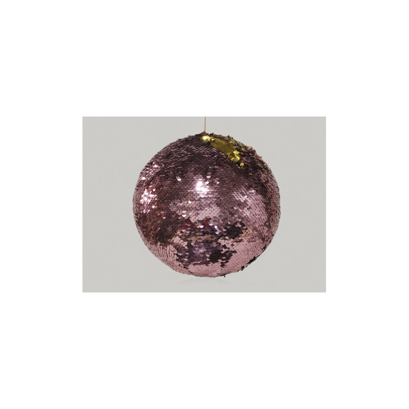 BOULE DE NOEL PAILLETTE_ROSE ET OR _100 mm_251815