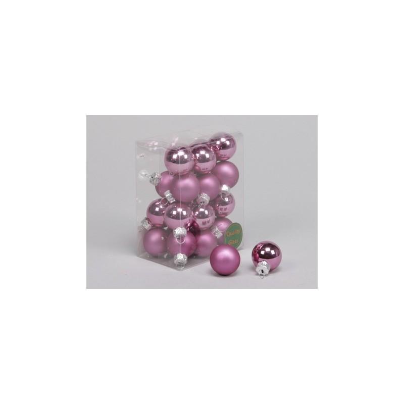 Lot de boules de Noël 24 pièces en rose 25 mm