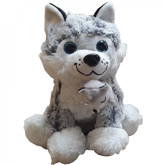Peluche doudou loup couleur gris hauteur 25 cm
